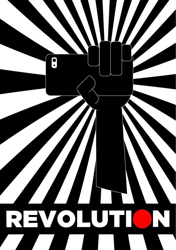Cartel revolution puño cerrando sujetando un móvil grabando